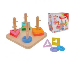 משחק עץ השחלת צורה בסיבוב PIT TOYS