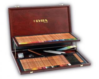 סט 106 עפרונות צבעוניים פוליקולור + כלים בקופסת עץ LYRA POLYCOLOR REMBRANDT