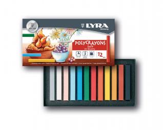 סט גירי פסטל יבש צבעוני  12 יח' LYRA POLYCRAYONS SOFT