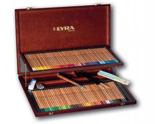 סט 96 עפרונות צבעוניים אקוורל + כלים בקופסת עץ LYRA AQUARELL REMBRANDT