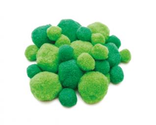 פומפונים ירוק מעורב גדלים 50 יח' פלדע