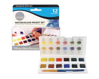 סט 12 טבליות צבעי מים + מכחול DALER-ROWNEY