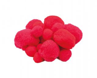 פומפונים אדום מעורב גדלים 50 יח' פלדע
