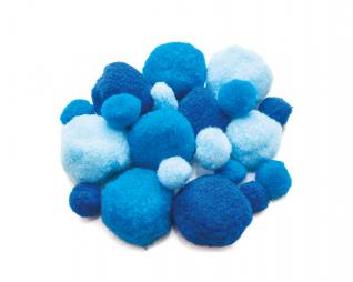פומפונים כחול מעורב גדלים 50 יח' פלדע