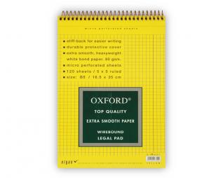 בלוק ספירל צהוב משובץ OXFORD B5