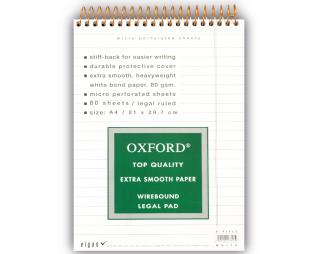 בלוק ספירל לבן שורה OXFORD A4