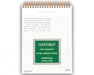 בלוק ספירל לבן משובץ OXFORD A4