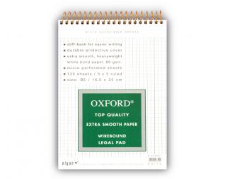 בלוק ספירל לבן משובץ OXFORD A5