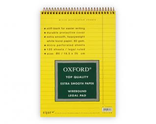בלוק ספירל צהוב שורה OXFORD B5