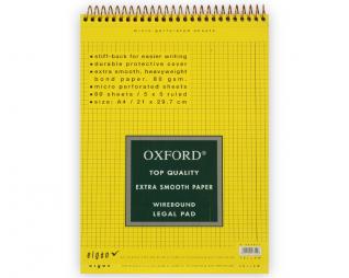 בלוק ספירל צהוב משובץ OXFORD A4