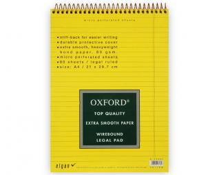 בלוק ספירל צהוב שורה OXFORD A4