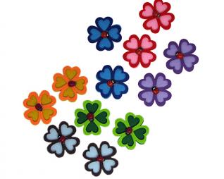 חיתוכי לבד דביק פרחים עם חיפושית 6 יח' פלדע