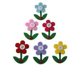 חיתוכי לבד דביק פרח עם חיפושית 6 יח' פלדע