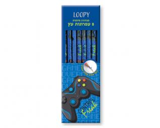 8 עפרונות עץ כולל עיפרון מחליף צבעים LOOPY