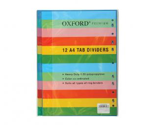 מארז 12 חוצצים עבים פלסטיק אוקספורד OXFORD