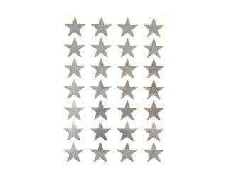 """מדבקות כסף כוכבים 24 מ""""מ 10 דפים SEART"""
