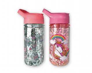 """בקבוק אקרילי גליטרים חתולים / יוניקורן 350 מ""""ל LOOPY"""