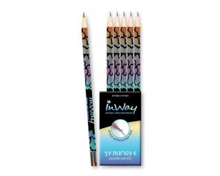 סט 6 עפרונות עץ מטאלי + מחק (1 מחליף צבעים) InWay
