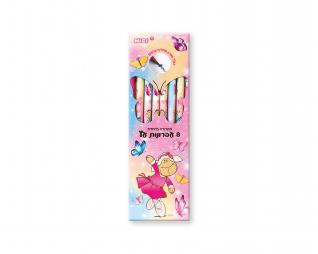 מארז 8 עפרונות עץ + מחק ג'ולי פרפרים(1 מחליף צבעים) במארז p.v.c 2021 NICI