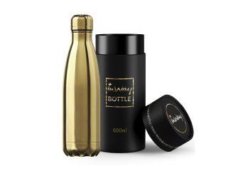 """בקבוק נירוסטה GOLD 500 מ""""ל + מארז מתנה INWAY"""